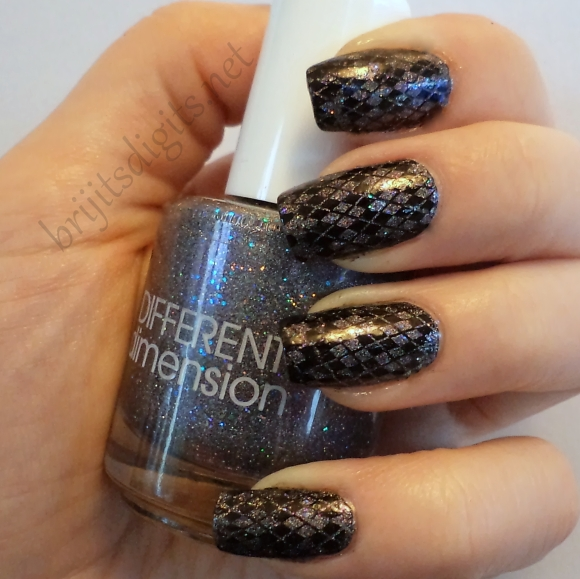 Different Dimension - Black Dahlia with stamping nail art