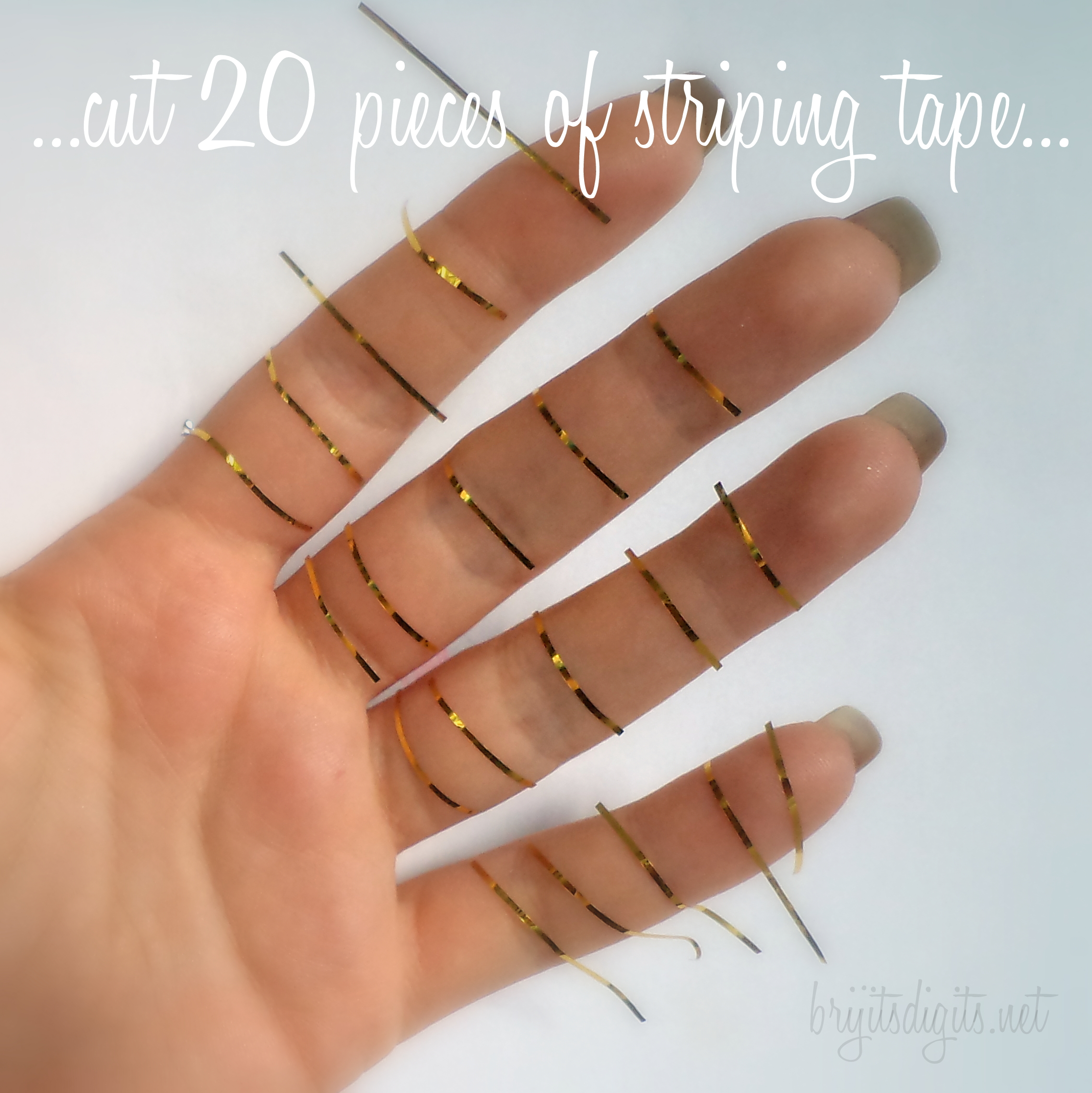 Striping Tape Nail Art Tutorial Cut 20 pieces of striping tape