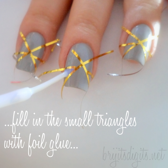 ...fill in the small triangles with foil glue...