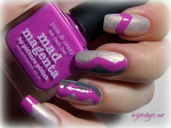 piCture pOlish - Mad Magenta - Chevron Nail Art