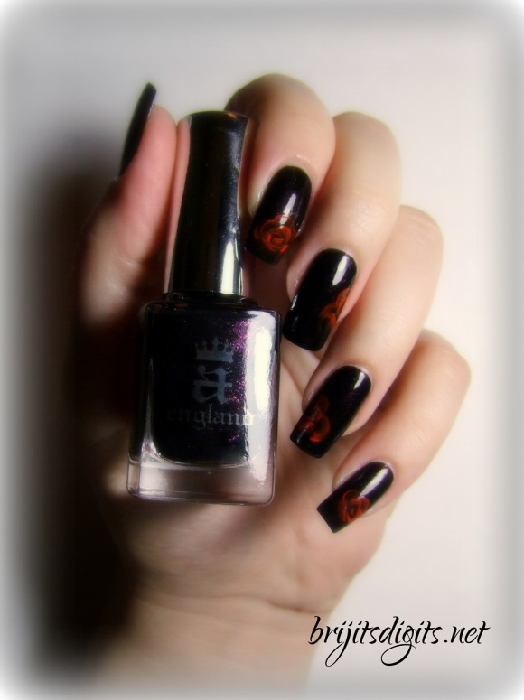 A England Jane Eyre - One Stroke Rose Nail Art-002