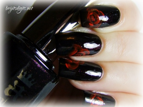 A England Jane Eyre - One Stroke Rose Nail Art-003