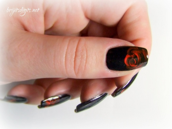 A England Jane Eyre - One Stroke Rose Nail Art-004