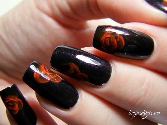 A England Jane Eyre - One Stroke Rose Nail Art-005