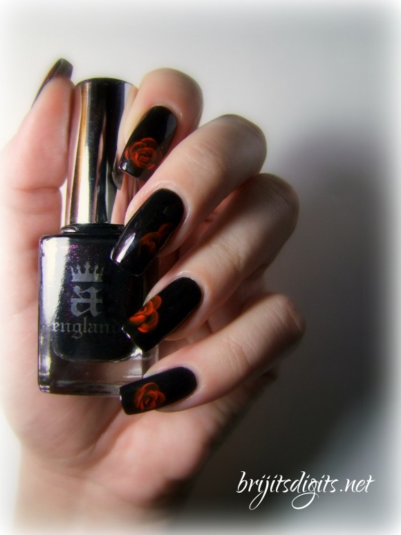 A England Jane Eyre - One Stroke Rose Nail Art-006