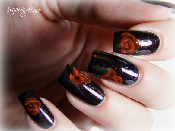 A England Jane Eyre - One Stroke Rose Nail Art-007
