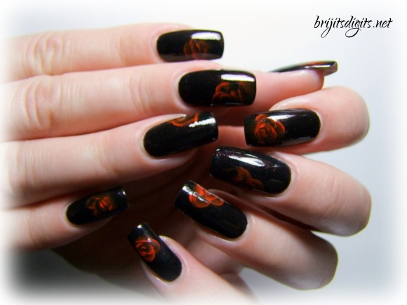 A England Jane Eyre - One Stroke Rose Nail Art-008