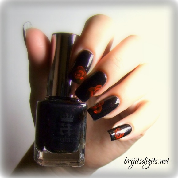 A England Jane Eyre - One Stroke Rose Nail Art