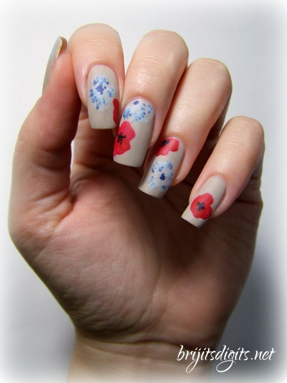 Armistice Day Nail Art Poppies Bleuet de France