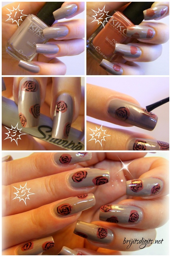Step by Step Easy Nail Art Tutorial - Sharpie Roses