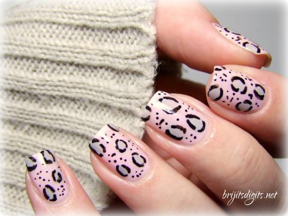 Pink Grey Leopard Nail Art Soft-001