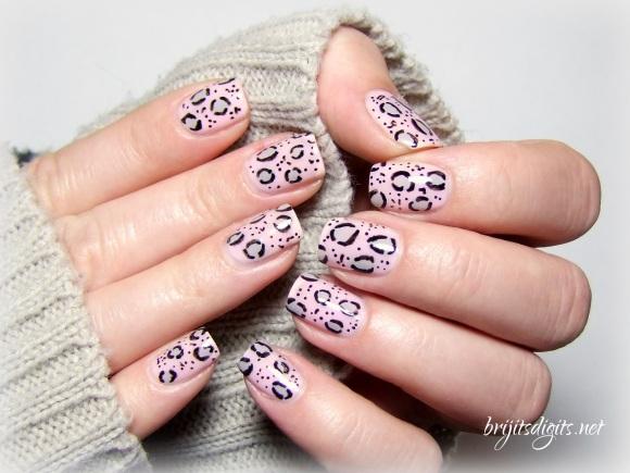 Pink Grey Leopard Nail Art Soft-002