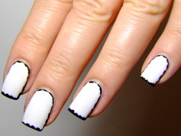 black and white border nails ezquerra inspired-002