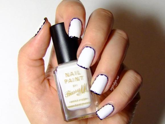 black and white border nails ezquerra inspired