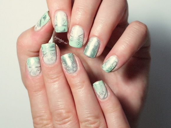 #Naillinkup - Gradient Nails - MoYou Stamping and China Glaze -002