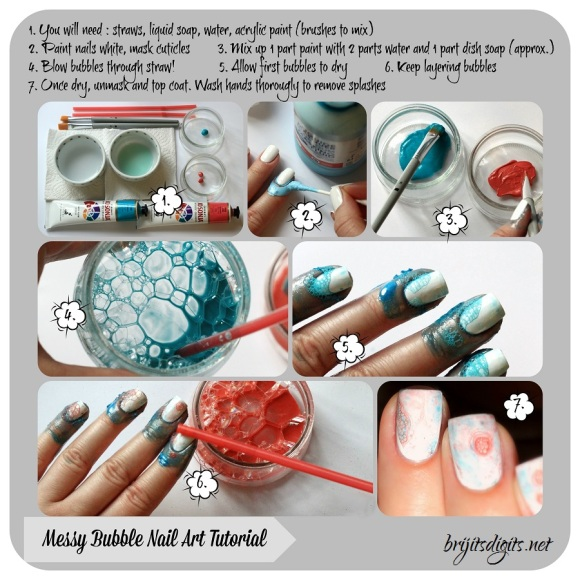 Messy Bubble Nail Art Tutorial Collage