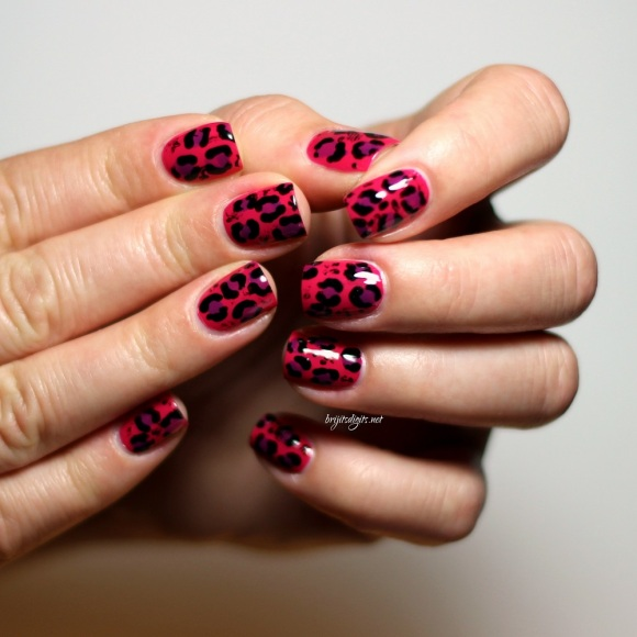 Pink Purple Leopard Nail Art - WIC Herome Las Vegas Barry M Bright Purple -002