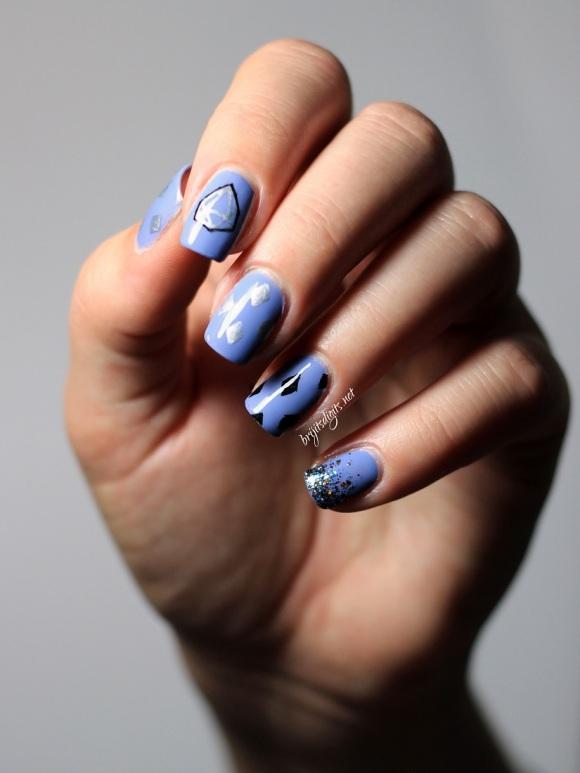 #NAILLinkup - Diamonds - China Glaze Fade into Hue and Shimmer Polish Jennifer  - Copy