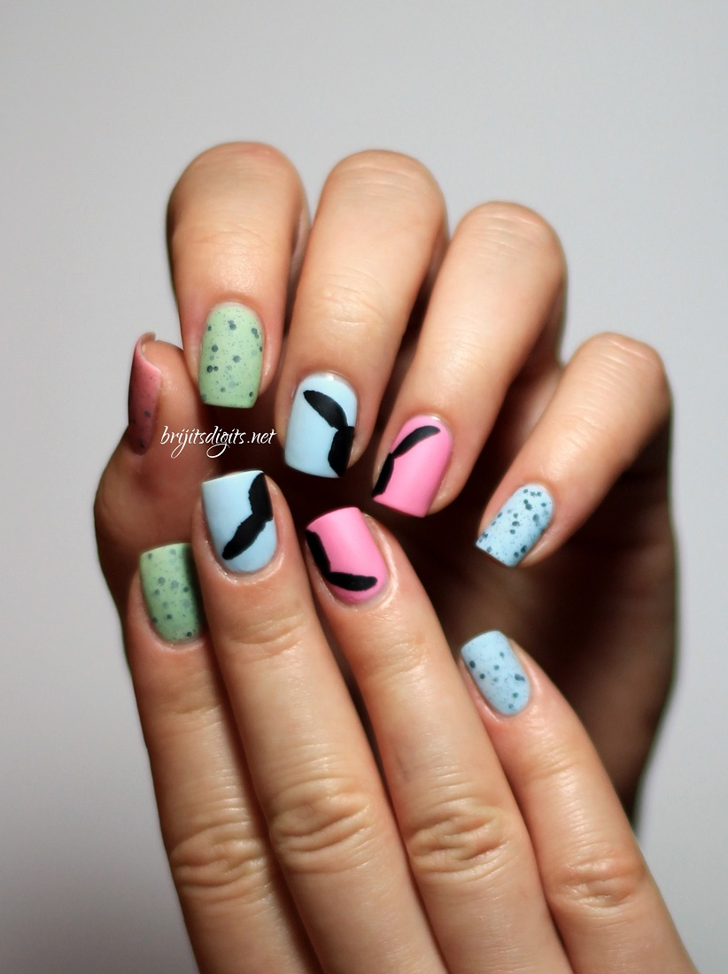 Easter Themed Pastel & Black Nails For The